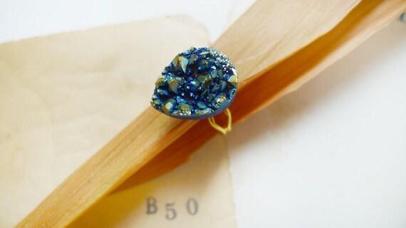 Titanium Blue Sparkling Tear Drop Druzy Ring
