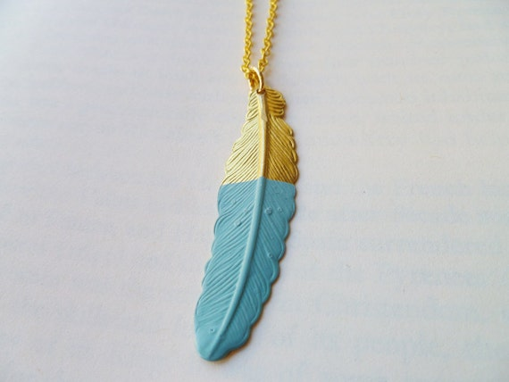 Hand Dipped Brass Feather Necklace In Robin's Egg