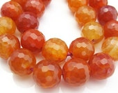 Orange Fire Agate - Nature Stone - Faceted Round Shape -Half Strand (12mm , 7.5 inches) 323010