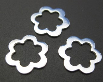 Sterling Silver Findings ,Connectors - Smooth Flower pendant or link charm,Jewelry Findings, Jewelry Supplies ( 11 mm - 6 pcs) - SKU: 201020
