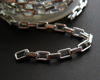 925 Sterling Silver Chain - Heavy Long Box Chain, Unfinished , Bulk Chain (1.5 feet or 18 inches) - SKU: 101040