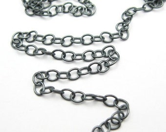 Oxidized Sterling Silver Chain, Cable Oval Chain- Unfinished Bulk Chain- Cable Chain 4mm by 3mm ( 3 feet or 36 inches ) - sku101014X