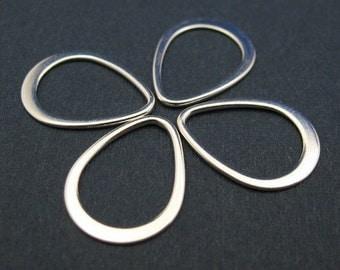 Sterling Silver Findings - Teardrop shape pendant or link charm ( 16 mm - 4 pcs) - SKU: 201041