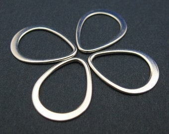 Sterling Silver Findings - Teardrop shape pendant or link charm ( 16 mm - 8 pcs) -SKU: 201041