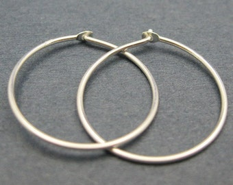Earring Findings, Hoop Earrings, Sterling Silver Earrings Findings -Simple Earrings Hoops -21mm (4 pcs-2 pairs ) SKU: 203020-21MM