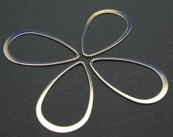 Sterling Silver Findings,Connectors,Links-Big Teardrop shape pendant or link charm-Jewelry Making Supplies (30 mm-4 pcs)-SKU: 201039