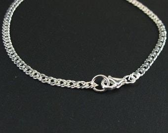 Sterling Silver Charm Bracelet - Double Diamond Cut Curb Chain Bracelet - 3mm by 5mm - All Sizes - SKU: 601035