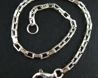 Sterling Silver Anklet- Sterling Silver Chain-Anklet-Sterling Silver Chain Wholesale- Heavy Long Box Chain (11 inch) SKU: 601040