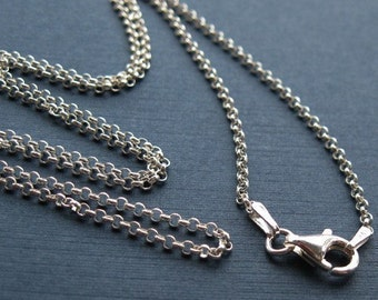 Sterling Silver Necklace-2mm Rolo Chain Necklace ,ITALY -Finished For Pendant(18 inches) - SKU: 601005-1