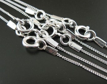 "925 Sterling silver Necklace, Sterling Silver Chain Necklace -Tiny Curb Chain (16"",18"",20"",22"",24"",26"",28"",30"",36"") (1 piece) - SKU: 601001"