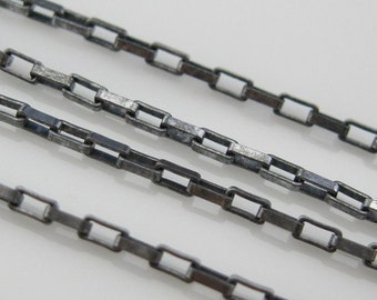 Oxidized Sterling Silver Chain - Small Box chain - Bulk Unfinished Chain - By the Foot - Jewelry Supplies Wholesale (1.5 feet )101011X
