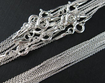 Sterling Silver Necklace,925 Sterling silver Chain,Necklace - Tiny Plain Cable Oval - Finished Necklace  - 16 inches ( 1 pcs)- SKU: 601009