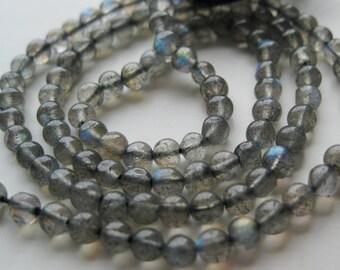 Full strand - Labadorite Gemstone , Smooth Round - 3.5mm - (14.5 inches or 36 cm ) Gem 06