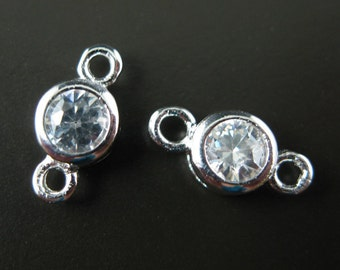 Sterling Silver Connectors,Sterling Silver Findings -CZ Stone ,Tiny Round Connectors,Unique Charms  ( 5.5 by 11mm, 6 pieces) sku: 201001