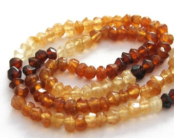 Hessonite -Semi Precious Stone ,Hand Faceted Rondelle Beads - full strand -(3- 3.5 mm) 13.5 inches - Gem 32 - 309002