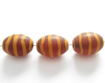 Carnelian dZi bead - Olive Shape with Ripple  Totem --16 mm by 12 mm ( 3 pcs)- SKU: 302029