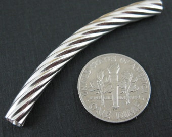 925 Sterling Silver Findings - Textured Curve Tube - 50 mm- SKU: 218002