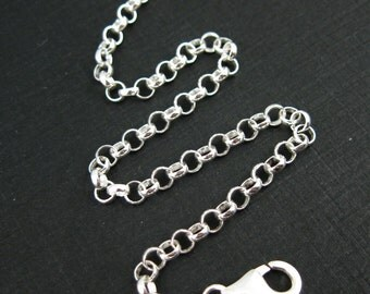 925 Sterling Silver Charm Bracelet - 3.5mm Rolo Chain  (7.5 inches) -  SKU: 601003