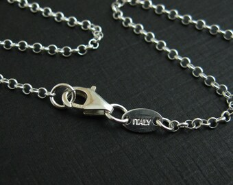 Sterling Silver Necklace - 2mm Rolo Chain Necklace ,ITALY - Long Necklace - Finished For Pendant (26 inches) - SKU: 601005
