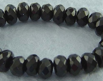 Faceted Black Onyx Rondelle Beads (8mm- 20 beads) sku: 326005