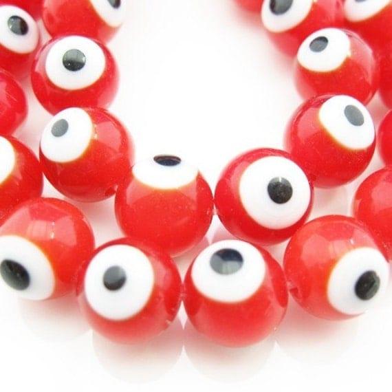 Full strand Glass beads- Eye Like- Red color -8mm (BeadG-003)