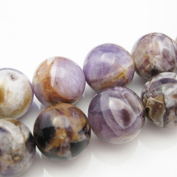 Amethyst Beads - Nature Stone - Smooth Round shape -Half Strand-( 14mm , 8 inches) 321006