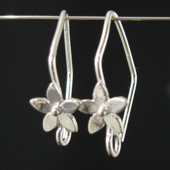 Sterling Silver Earwire - Fancy Fishhook shape with flower 20mm by 11mm ( 4pcs - 2 pairs) - SKU: 203006