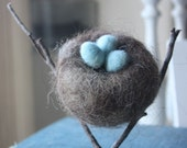 Nest with Eggs - Needle Felted