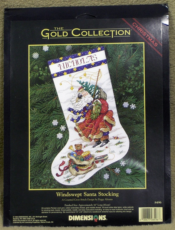 Windswept Santa Stocking cross stitch kit personalized beaded NEW by Dimensions Christmas by Peggy Abrams 1996 Santa