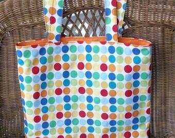 Polka Dotted Canvas Beach/Diaper Bag