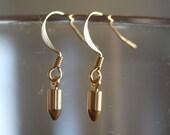 Tiny Gold Bullet Earrings