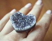 Amethyst Heart Ring - Silver