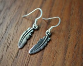 Tiny Feather Earrings - Silver
