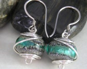 SALE 25% OFF Use Coupon Code save 25 Sterling Silver Wire Wrapped Lampwork Bead Earrings