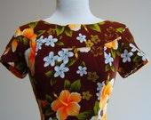 Retro 1960 Vintage Hawaiian Sunset Aloha Maxi Muu Muu  Dress