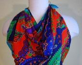 1980 Silk Designer Diane Freis Vintage Dead Stock Paisley Park  Jewel Tone Square Silk Scarf