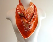 1960 Mod floral vintage coral orange Japanese rose camellia stewardess style square scarf
