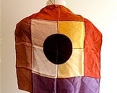 1970 small scarf flight attendant circle in the square color blocking purple rust red black