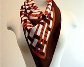 RESERVED FOR MARTHA 1970 The Pilots wife is a basket case brown rust orange and white vintage head scarf