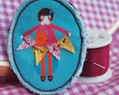 Fabric Doll holding Flag Bunting Pin\/Brooch