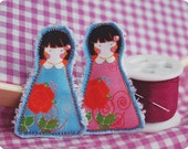 2 Sisters Fabric Doll Pins\/Brooches