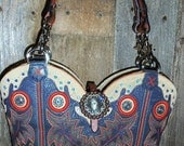 Blue and orange cowboy boot purse