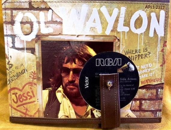 Waylon Jennings record album journal lined in leather