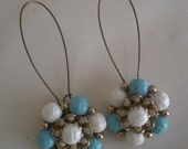 French Blue & White Repurposed Upcycled Vintage Earrings
