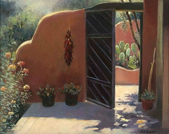 GATE to the GARDEN, Southwest, New Mexico Adobe Patio Garden Cactus, High Quality Giclee Digital Art Print No. 5, Signed, Numbered