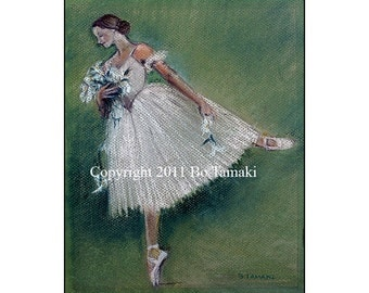 Swan Lake Ballet Dancer 5x7 signed,archival print blank card
