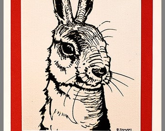 5x7  Hoppy  Birthday Rabbit signed archival print blank card
