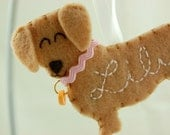 Personalized Felt Ornament Dachshund Dog - Personalized Felt Dog Ornament
