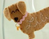 Personalisierte Filz Ornament Dackel Hund - personalisierte Filz Hund Ornament