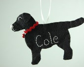 Personalized Felt Ornament Black Lab, Yellow Lab or Chocolate Lab Dog - Made to Order Felt Dog Ornament